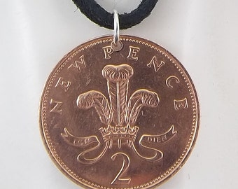 1971 England Coin Necklace, 2 Pence, Mens Necklace, Womens Necklace, Coin Pendant, Leather Cord, Vintage