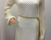Ivory Dress Peach Dress 70s Retro Vintage Long Sleeve XS S