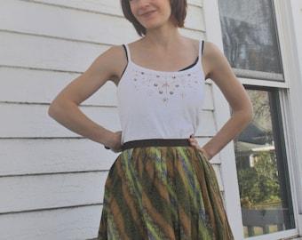 Print Circle Skirt Vintage 60s Full Casual 1960s M L 30 Waist