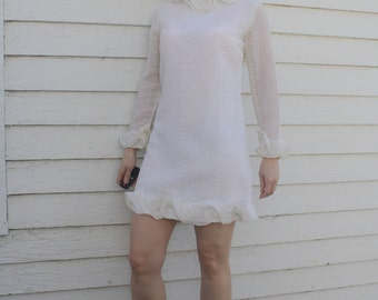 Vintage 60s Mod Mini Dress Ruffle White XS Retro