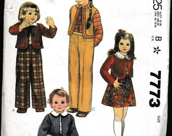 McCall's 7773 Toddler's and Children's Jacket or Vest,Skirt,Shirt and Pants