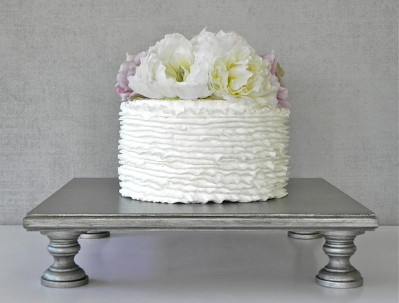 Aged Silver Cake Stand 12 Wedding Square Cupcake Vintage
