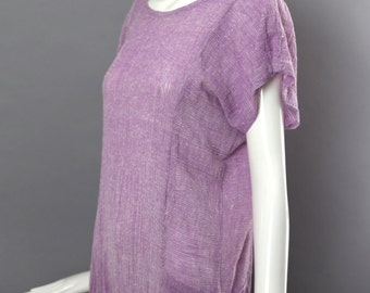 70s ZODIAC deadstock gauze tunic mini dress purple space dye hippie 1970s vintage medium beach