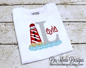 Lighthouse Personalized Shirt, Letter or Birthday Number, Appliqued, Short or Long Sleeve Shirt, Totally Custom, Name Embroidered