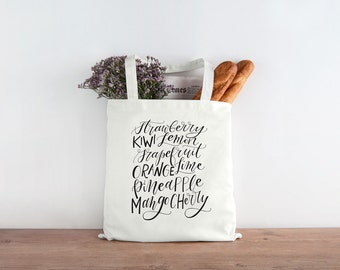 Market Fruit Produce Screen Printed Canvas Tote Bag - Calligraphy Hand-lettered canvas shopping bag