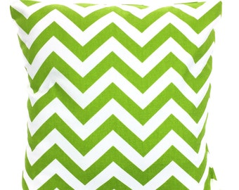 Green White Chevron Pillow Cover, Decorative Throw Pillows, Cushions, Lime Green White Zig Zag Pillows Couch Bed Sofa Pillows ALL SIZES