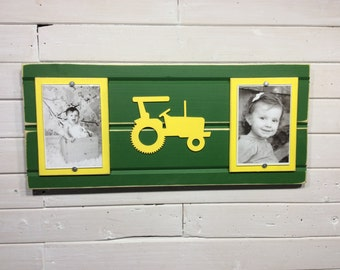 "Green and yellow picture frame holds 2- 4""x 6"" photo. John Deere colors with tractor"