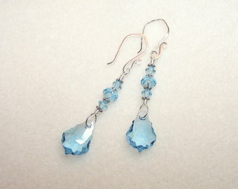 Blue Crystal Earrings for Women Light Blue Aquamarine Crystal March Birthstone Jewelry Canada Silver Dangle Earings Gift Ideas for Her
