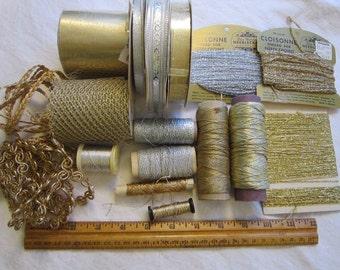 vintage metallic fibers - thread, elastic cord, ribbon, mesh, braid, fibers - silver and gold