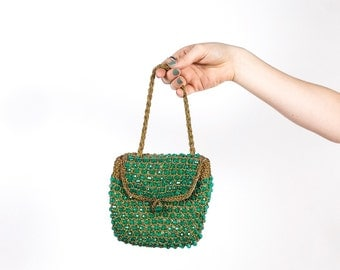 1950s 60s Emerald Beaded & Gold Lamee Purse