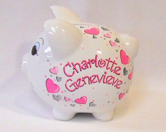 Personalized Piggy Bank in Pinks and Silver Hearts