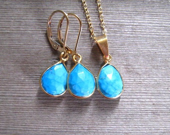 Turquoise Jewelry Set, December Birthstone, Earring Necklace Set, Natural Turquoise Jewelry, Bezel Set, Gold Filled, Dangle Earrings