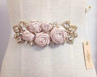 Silk Rose and Crystal Bridal Sash- Blush Bridal Belt- Floral Bridal Sash