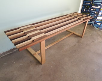 MID CENTURY MODERN Style Narrow Slatted Bench or Coffee Table (Los Angeles)