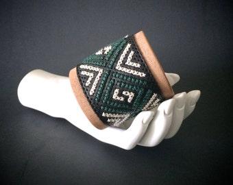 leather bracelet for women | boho cuff | wide cuff with geometric design | cross stitch cuff | chevron jewelry | arrow jewelry | tribal