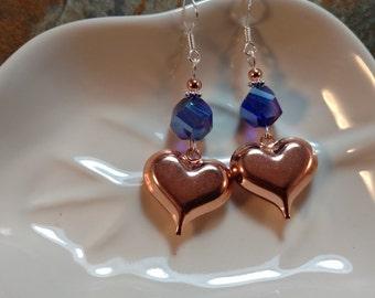 Copper Heart Earrings, Copper Heart of Blue Sterling Silver Earrings, Blue Heart Copper Earrings, Blue Heart Earrings