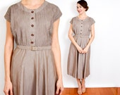 40s Taupe Cotton Dress | Cocoa Day Dress, Medium