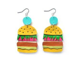Neon Burger Earrings, Pop Art Food Earrings, Leather Earrings, Statement Earrings, Cheeseburger Earrings, Burger Jewelry, Fast Food Jewelry
