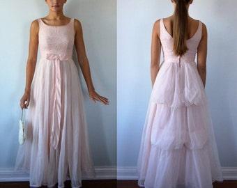 Vintage Pink Cotillion Gown, Vintage Pink Prom Dress, 1950s Pink Prom Dress, Wedding, Romantic, Vintage Dress, 1950s Dress