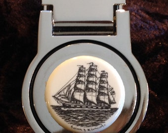 Money Clip-polymer Reproduction Scrimshaw-Tall Ship