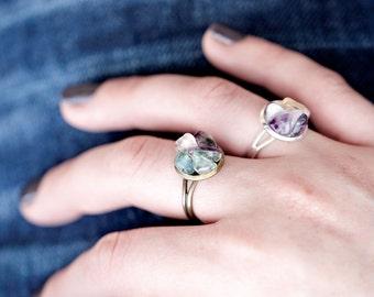 Rainbow Fluorite Ring - Boho Rings Set - Bohemian Jewelry - Boho Jewelry - Womens Rings - Bohemian Rings Rough Stone Ring Fluorite Jewelry