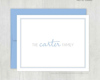 Personalized Note Cards Set • Family Block {FOLDED} • Set of 10 Note Cards w/ Envelopes • Custom Stationery/Stationary • Thank You Notes