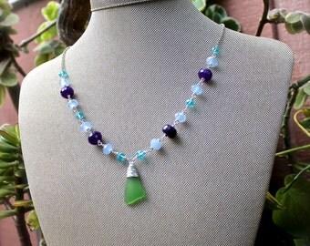 Hawaiian Sea Glass Necklace - Green Seaglass Jewelry from Hawaii - Mermaid Necklace made in Hawaii - Beach Glass Jewelry - Hawaiian Necklace
