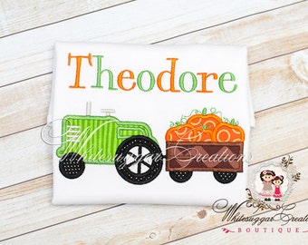 Boys Halloween Outfit - Tractor with Pumpkin Wagon Shirt - Baby Personalized Shirt - Kids Halloween Shirt - Newborn Holiday Outfit