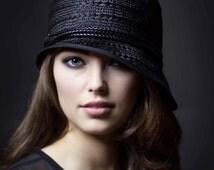 Summer Hat, 1920s Style Flapper Black Straw Cloche Chapeau - Amber