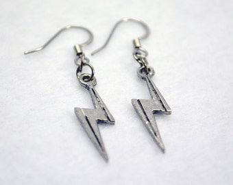 Silver Lightning Bolt Earrings - Boy Wizard Earrings, Ms Marvel Earrings, Lightning Earrings for Costume & Cosplay. Superhero Earrings.