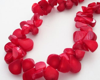 Coral Beads - Red Sea Coral Bamboo Briolette - Flat Teardrop - Top Drilled Double Sided - DIY Jewelry Making Project - DIY Nautical