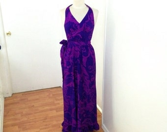 Gorgeous 1960s Vibrant Violet Floral Hawaiian Ruffled Wrap Around Maxi Dress