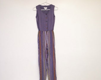 Vintage 1990s One Piece Purple and Striped Belted Romper