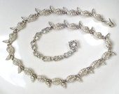 Art Deco Rhinestone Leaf Bridal Necklace, Vintage BOGOFF Signed Silver Pave Link Statement Necklace 1940 Nouveau Gatsby Autumn Wedding Paste