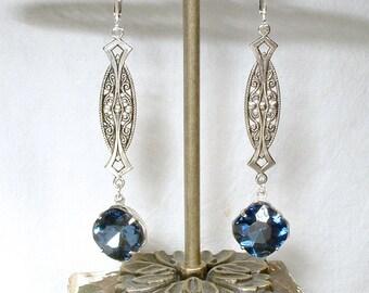 Art Nouveau/Deco Sapphire Earrings, 1920 Navy Blue Rhinestone Long Dangle Earrings, Antique Silver Vintage Bride Bridesmaid Gatsby Wedding