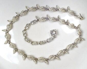 Art Deco Rhinestone Leaf Bridal Necklace, Vintage BOGOFF Signed Silver Pave Link Statement Necklace 1940 Nouveau Gatsby Autumn Wedding Paste
