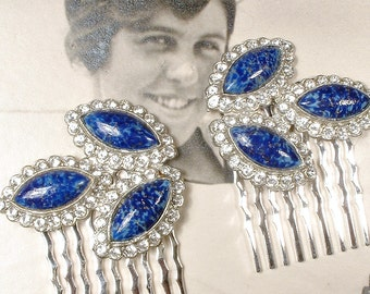 OOAK Antique Art Deco Sapphire Blue Bridal Hair Comb PAIR, Navy Clear Rhinestone Hairpiece, 1920 Silver Vintage Wedding Dress Clip Headpiece