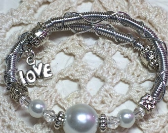 Memory Wire Bracelet with Pearl and Crystal and  Charms