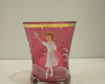 Vintage Mary Gregory Cranberry Glass Toothpick Holder