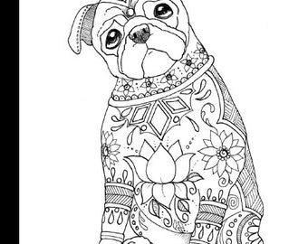 Pug coloring book Etsy