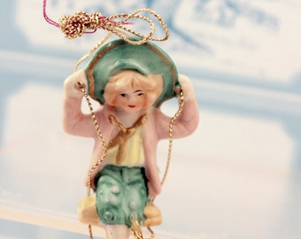 Swinging Girl Porcelain Bisque Ornament Figurine MIDWEST Import Vintage