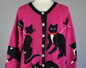 Vintage 90s Women's Dancing Cats Kooky Silly Conversation Nerd Cardigan Sweater