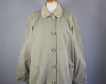 Vintage 90s Women's Eddie Bauer Durable Cotton Canvas Field Jacket Barn Coat Chore Coat // Women's Fall Coat