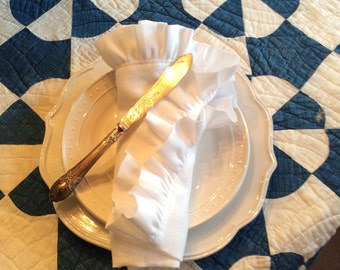 Ruffled Linen Napkins, Placemats or Tea Towels Set of Four