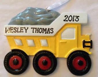 Personalized Boy Christmas Ornament Construction Truck - Birthday Gift/ Gift Tag