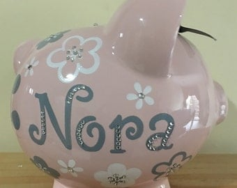 Personalized Large Pink/ Grey flowers Piggy  Bank Newborns , Birthday,Girls,Flower Girl,Baby Shower Gift Centerpiece