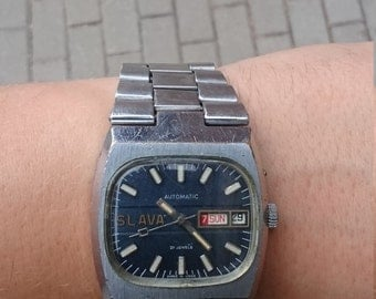 RARE vintage Russian Mechanical mens wristwatch Slava from Soviet Union era