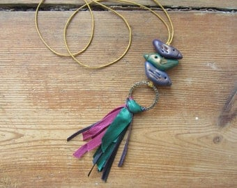 Rustic Bird Necklace, Clay Bird Pendant, Upcycled Repurposed Jewelry, Ribbon Tassel Necklace, Boho Chic Tassel Jewelry, Bird Lover Gifts