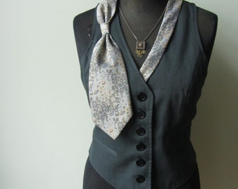 Size L, Dark Gray Vest, Steampunk Grey Waistcoat detailed with Repurposed Necktie, Upcycled Recycled Clothing, Fitted, Button Up, V Neck