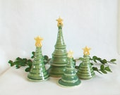 Christmas Tree with a Star on Top  ------- 1 Tree - First Tree on the Left - Handmade, Wheel Thrown - Holiday Decor/Ornament